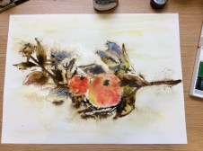 watercolour, granulation fluid, sepia ink, apples and beech leaves