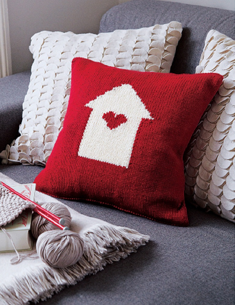 """Home is Where the Heart Is"" Valentine's Day Cushion designed by Debbie Bliss"