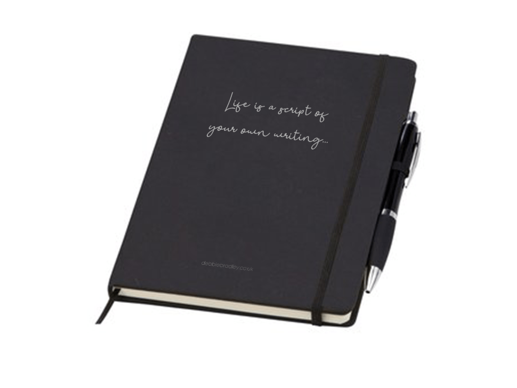 """Life is a script of your own writing..."" journal. 96-lined pages with matching pen"