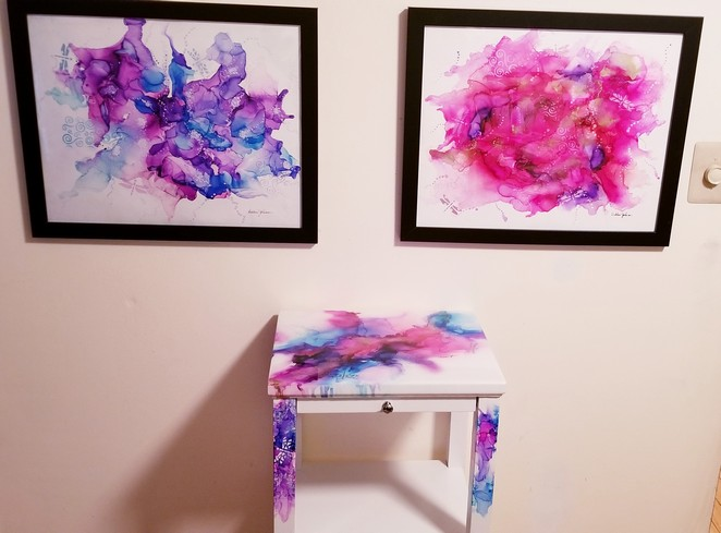 Commission table and paintings