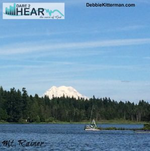 This is not the view of Mt Rainer from my office window, but it is the view I get to see when I go to the other side of the lake.