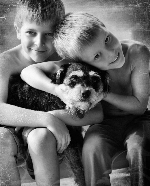 black and white, photography, kids, pets
