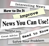 News You Can Use words in torn newspaper headlines for articles,