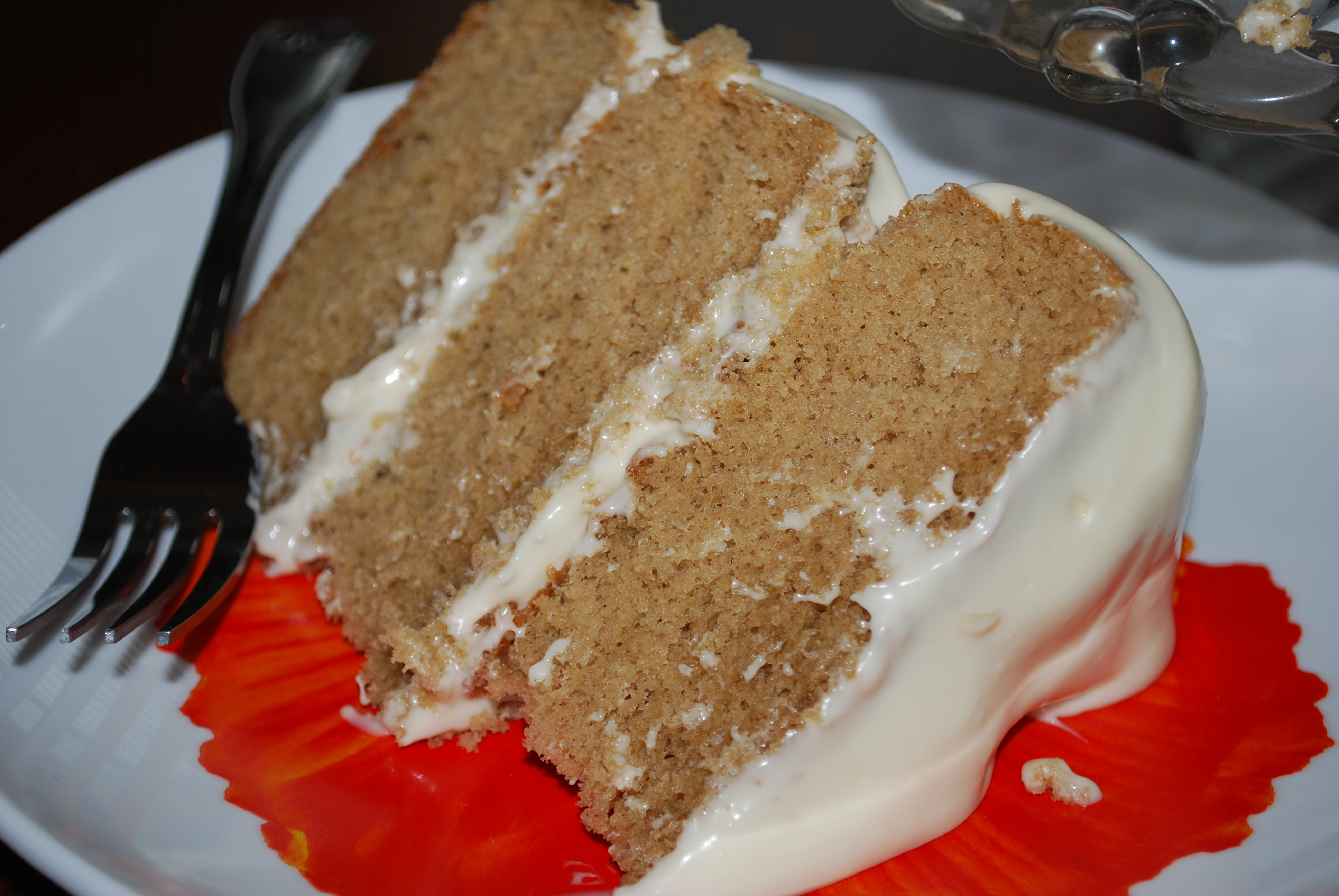 """The first piece of cake for my official """"taste-tester""""."""