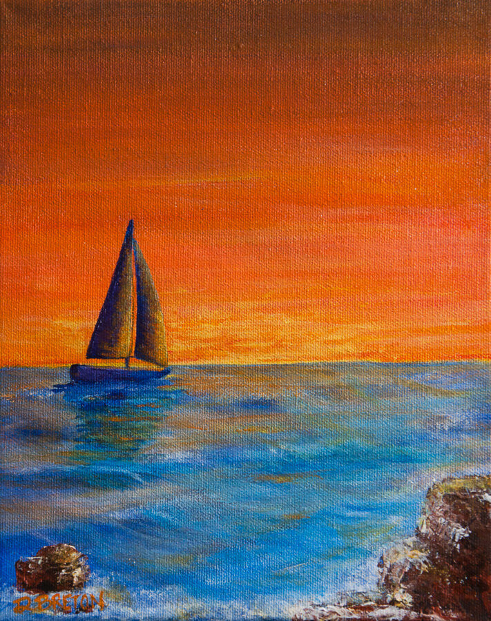 sailboat sailing into sunset painting