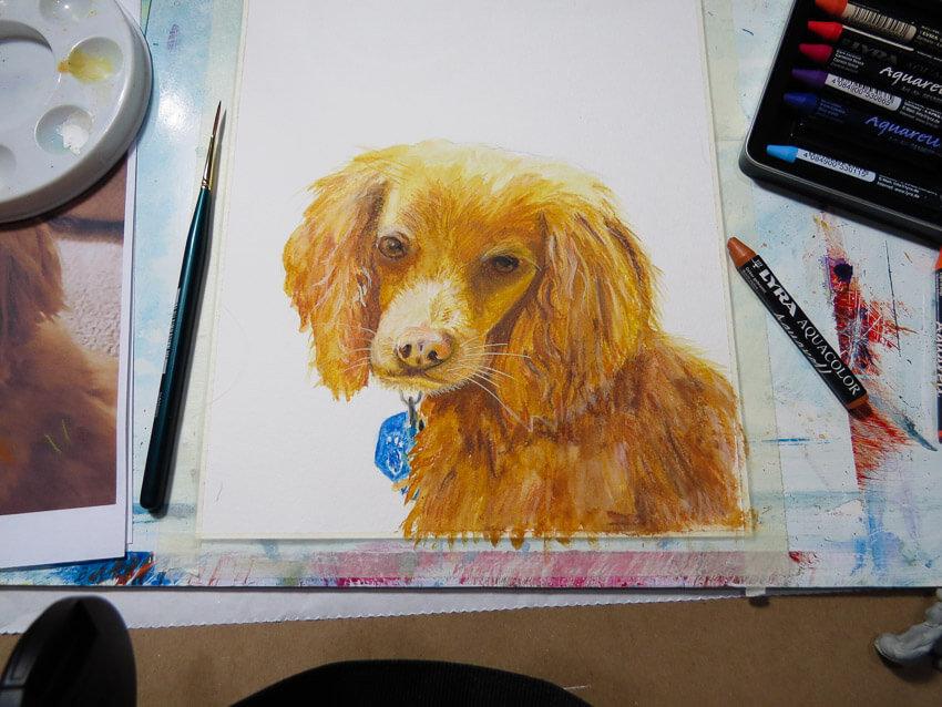 cute cocker spaniel dog painting