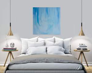 rainy day dreaming abstract wall art by deb breton hanging in the bedroom