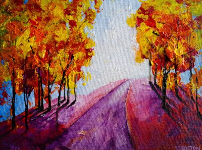 semi abstract fall leaves and path painting