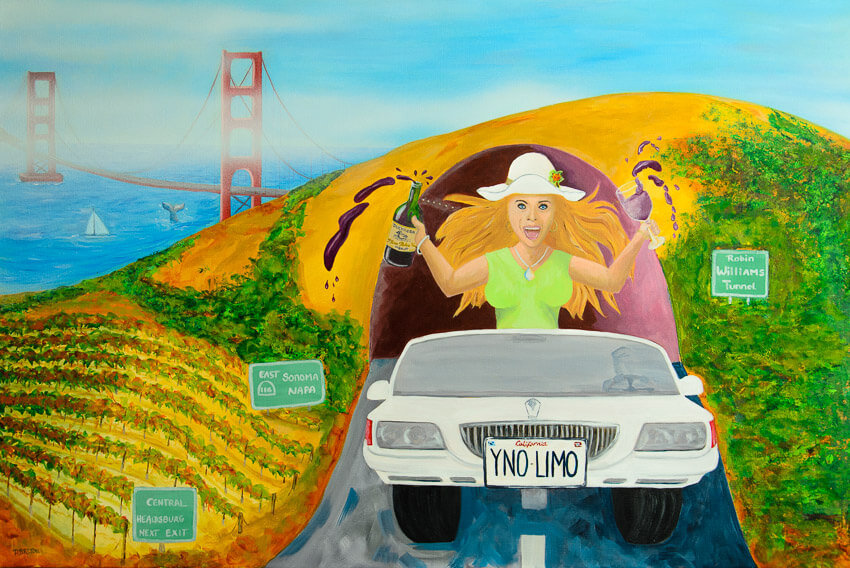 Party girl in limo escaping to wine country!