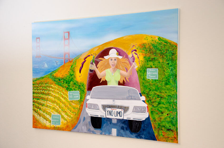 painting of blonde party gal in limo with her red wine spilling everywhere