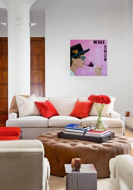 Wine Snob hanging in a living room.