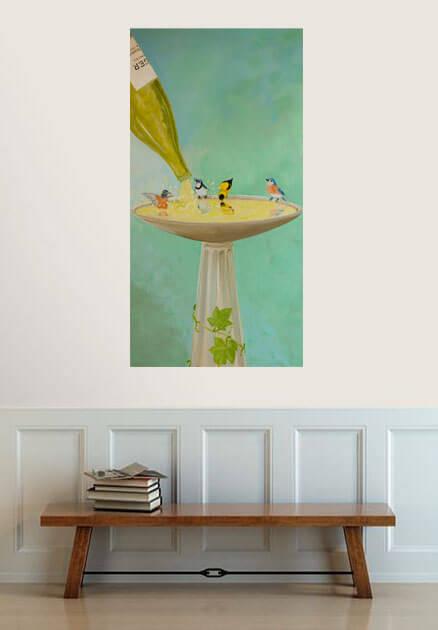 birds playing in wine bird bath painting
