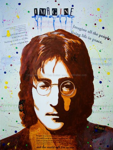 John Lennon - Imagine mixed media pop art painting