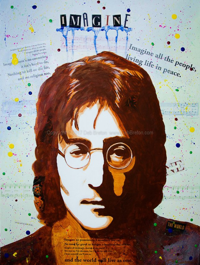 John Lennon - Imagine mixed media pop art painting