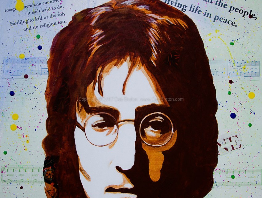 Close up of John Lennon - Imagine face painting