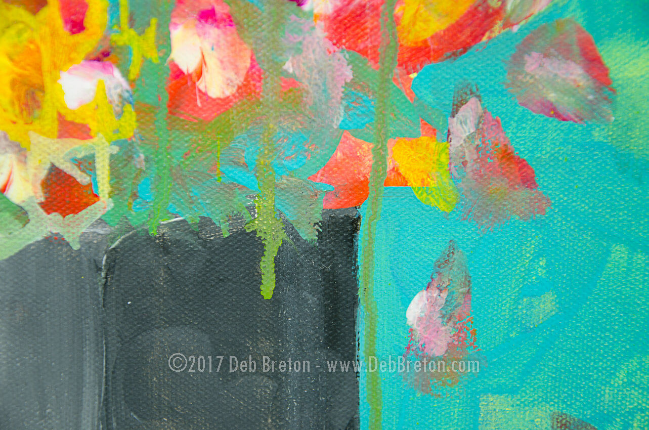 Nothing Lasts Forever Abstract Floral painting by Deb Breton Acrylic on 18 x 24 x 1.5 gallery wrapped canvas. Pink, red, orange and yellow flowers in a black square vase with the flower petals dropping. Turquoise and yellow and white drips. Abstract Still life painting.