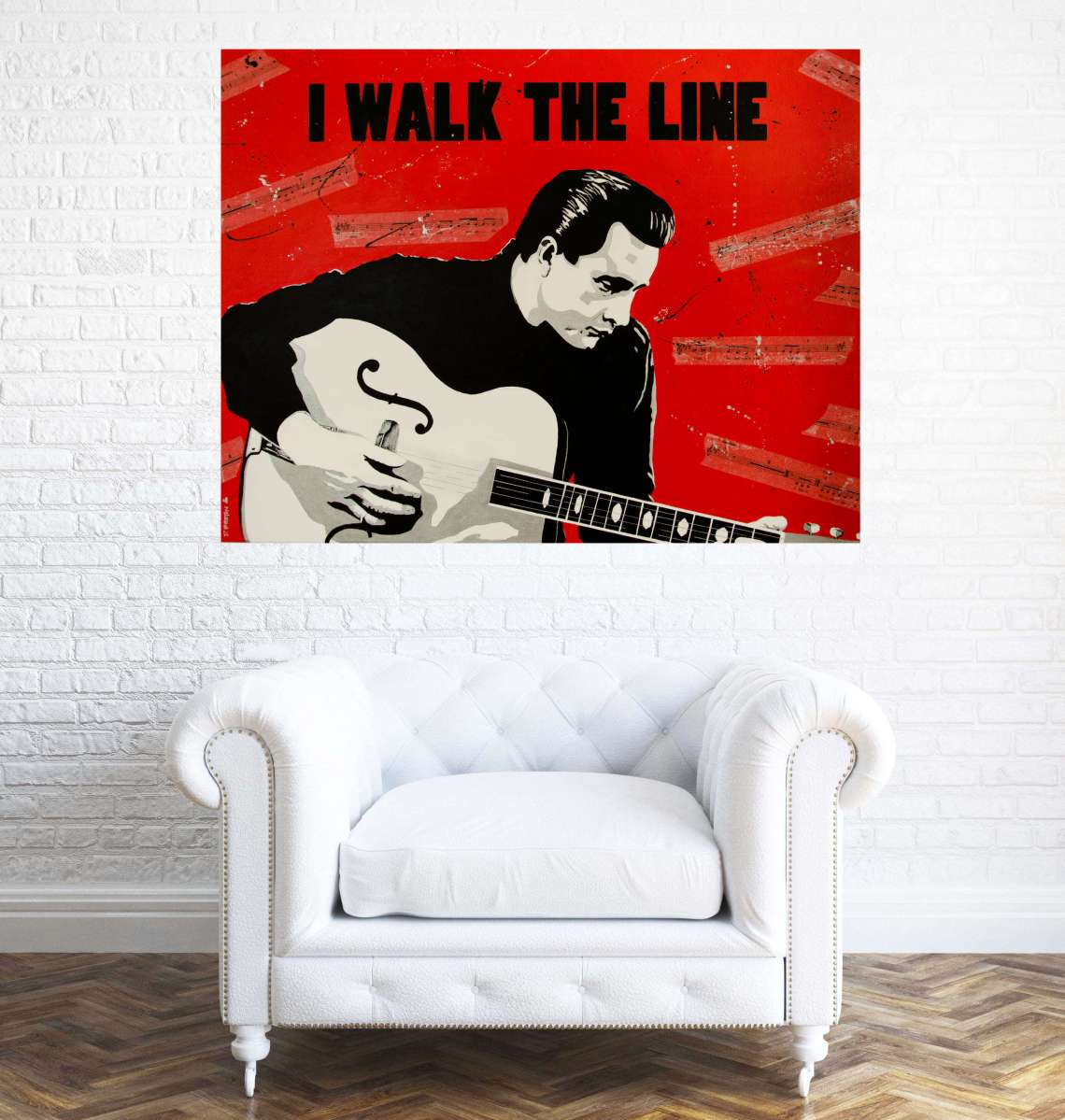 Johnny Cash Painting - I WALK THE LINE, in situ.