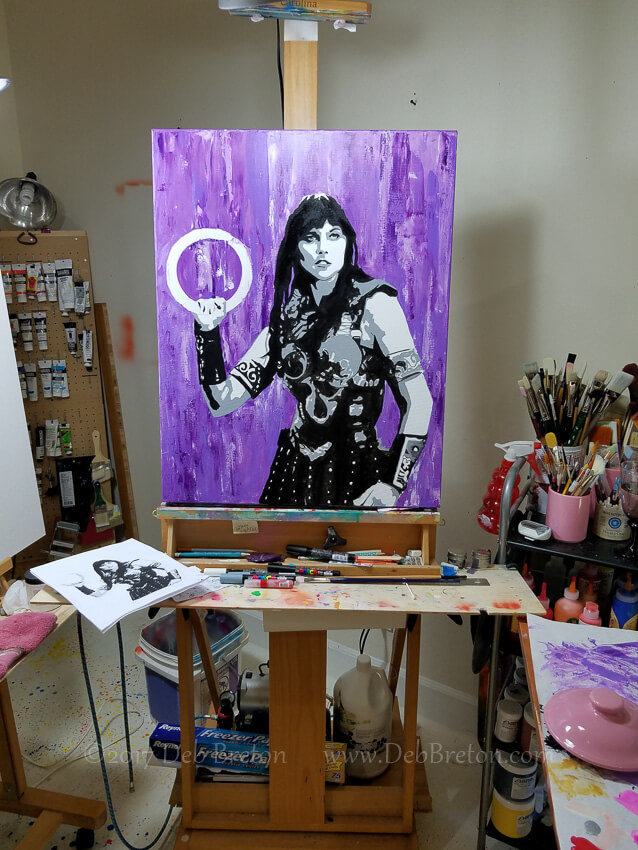 making Xena warrior princess painting on the easel