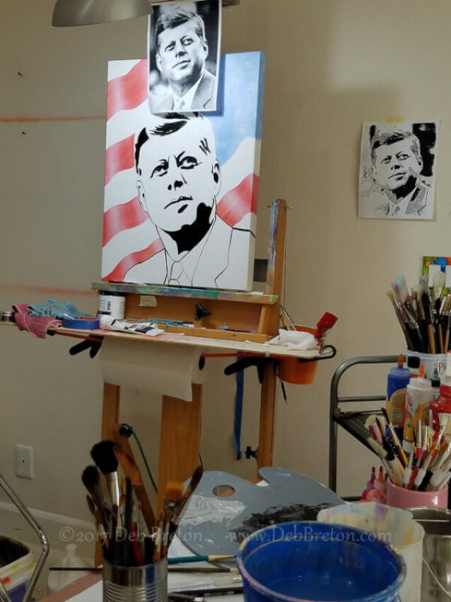 John F Kennedy painting is starting to come together