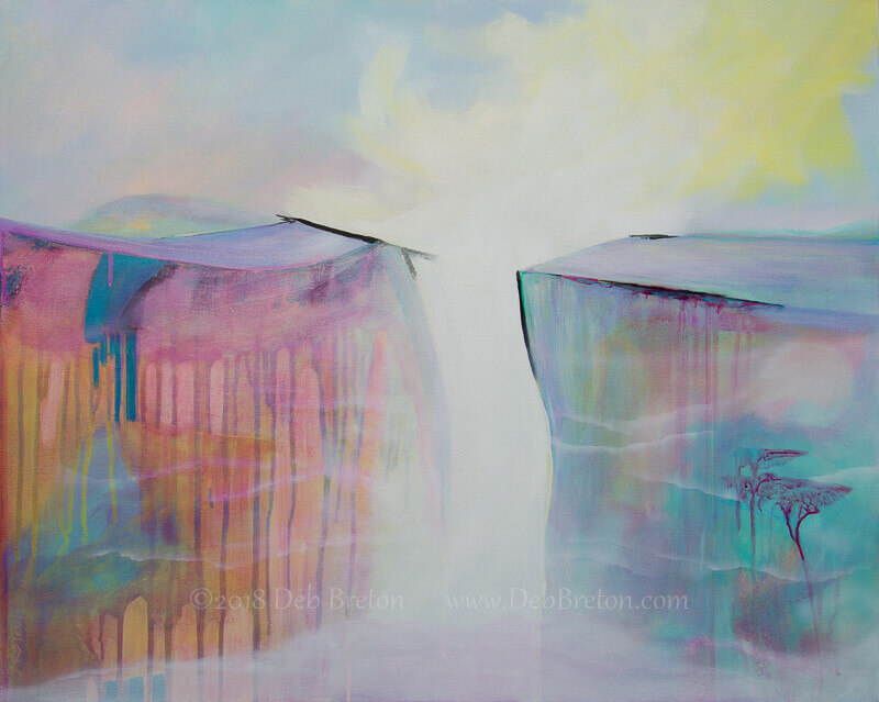 """On The Precipice - Mixed Media on stretched 24 x 30 canvas with deep 1.5"""" sides painted white. Surreal Abstract Landscape by Deb Breton. Pastel colors and bold drips with whispy clouds."""