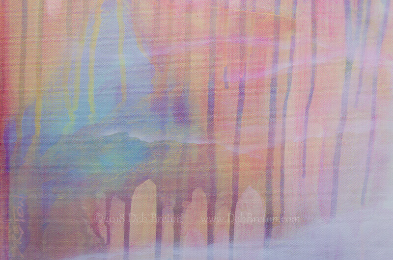 On The Precipice -mixed media surreal painting-detail
