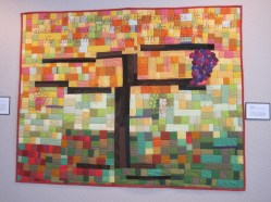"THE VINE. This verse was very influential in my discipleship process. It was comforting for me to realize that my part was to abide in Jesus. I could do nothing without Him. Machine quilted, with words hand embroidered. 43""x33"". $275.00"