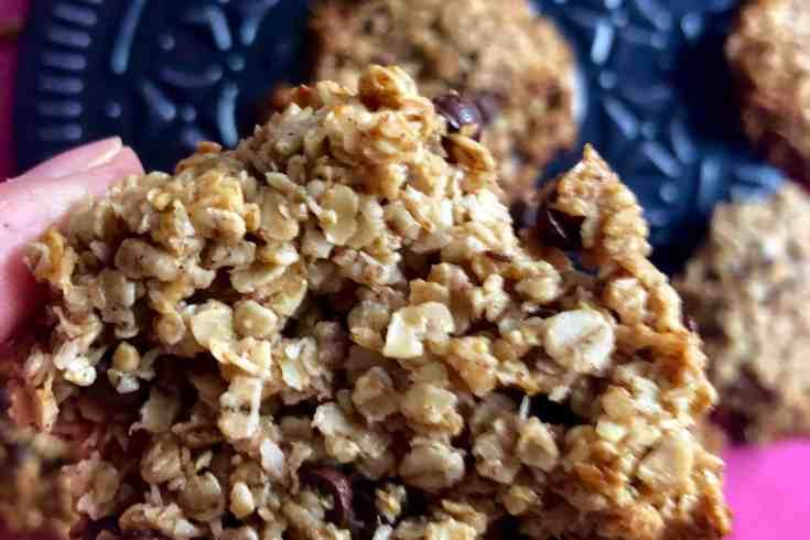 Krokante havermoutkoekjes met chocolade en kokos