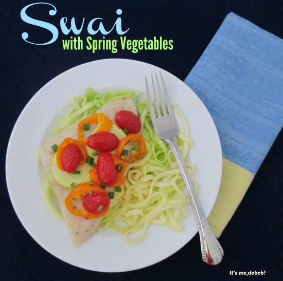 Swai with Spring Vegetables- It's me , Debcb!