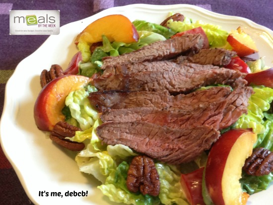 Marinated Steak Salad with Nectarines and Spiced Pecans