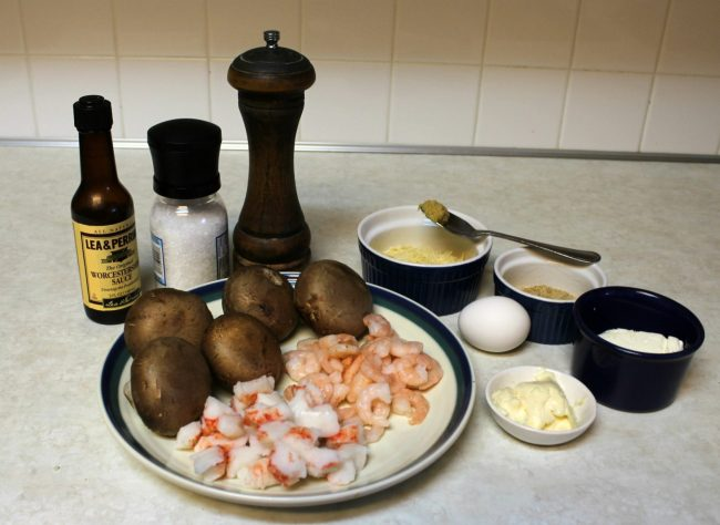 ingredients for seafood stuffed baby bellas