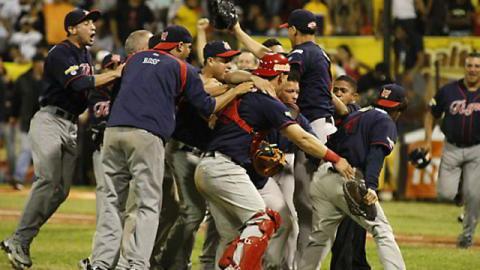 Tigres de Aragua celebrando pase a la final en Venezuela