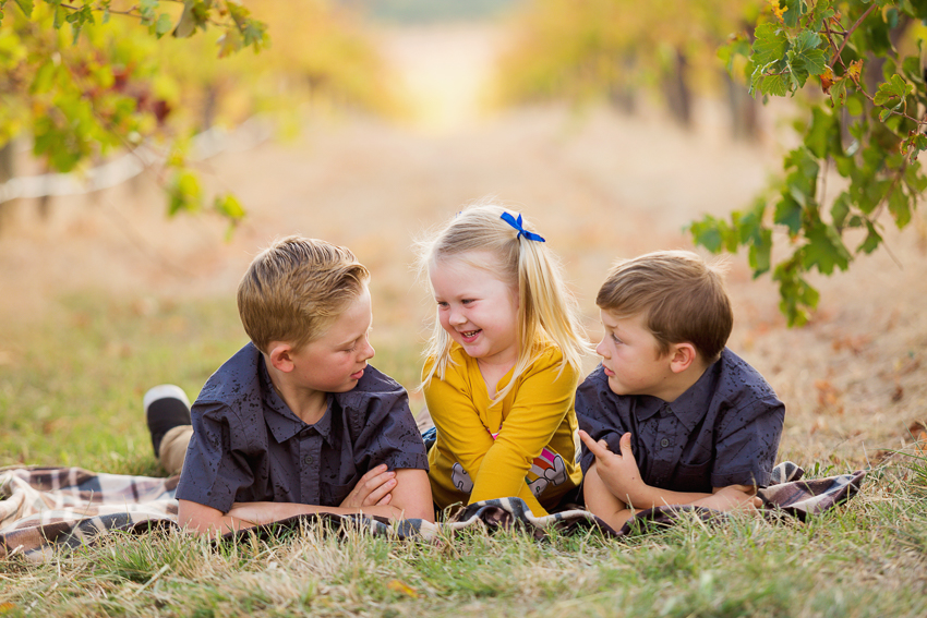 two brothers and a sister sitting in the vineyards