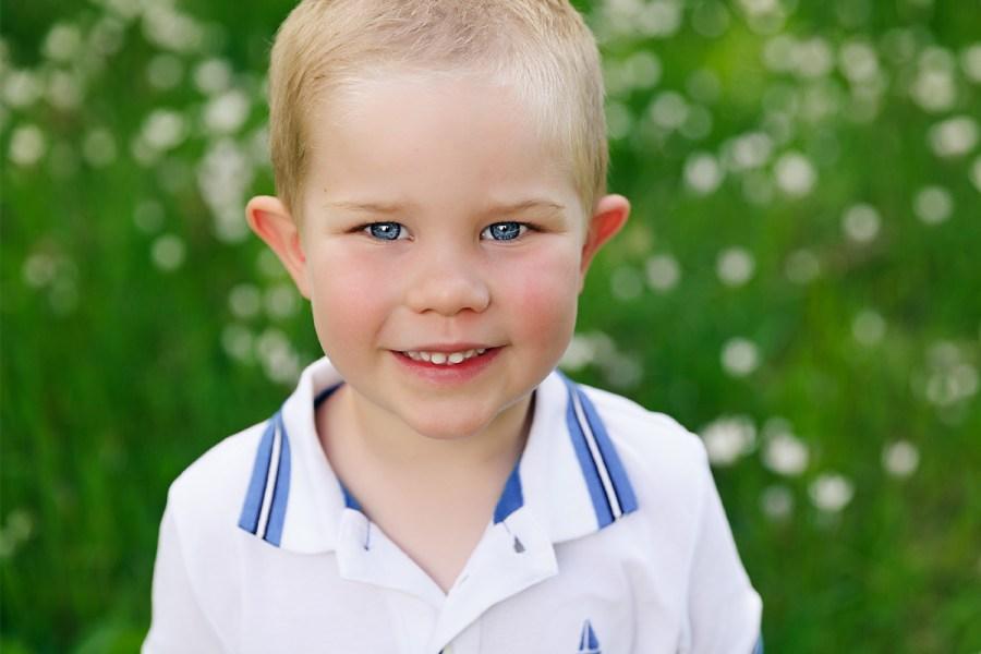 little boy in flowers