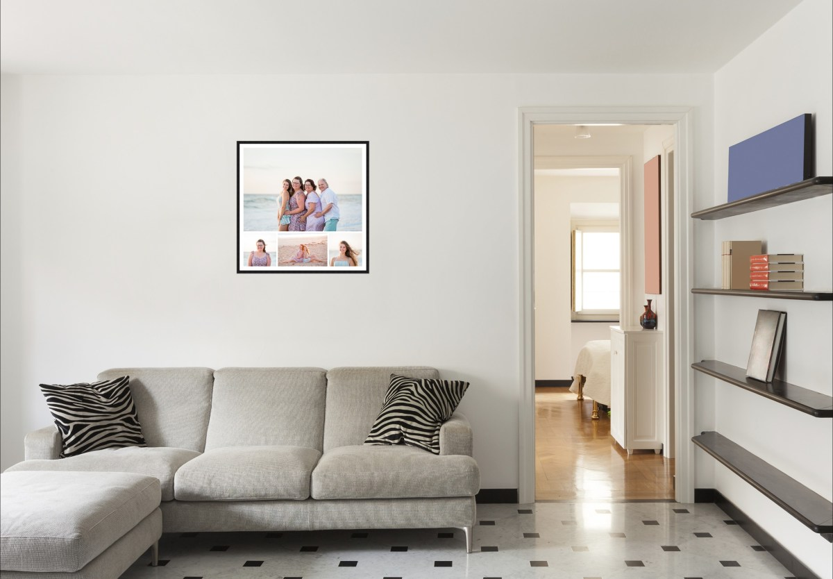 family photos in a framed wall art in lounge