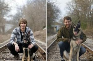 25 entrañables fotos de mascotas creciendo al lado de sus dueños a través de los años