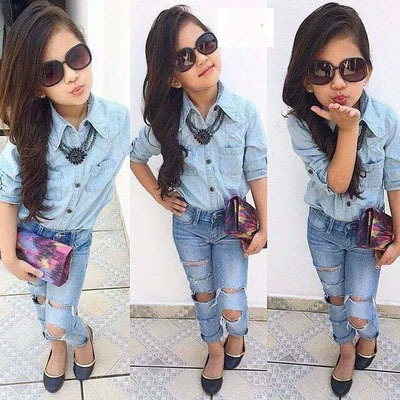 2015-girls-summer-and-spring-denim-clothing-set-children-clothing-set-kids-girls-denim-shirts-Denim