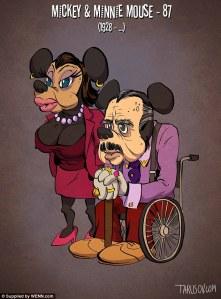 Ilustrador imagina cómo serían los personajes de dibujos animados en edad avanzada.
