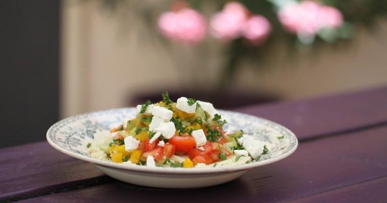 Inspiration grecque: Salade semoule et legumes rôtis