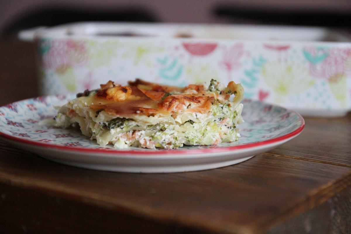 Les lasagnes aux brocolis et au saumon