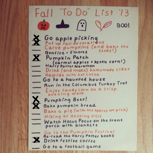 Fall 2013 Bucket List