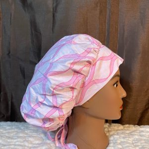 Pink ribbon bouffant scrub hat