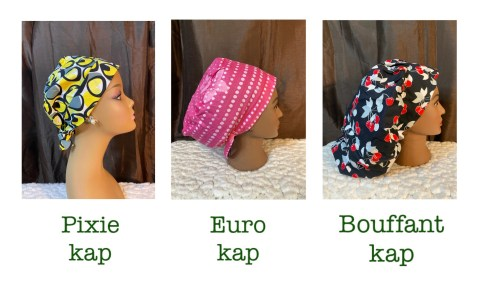 3 surgical cap styles by Debola Designs. One yellow and gray dots, one pink and white, one black with red cherries