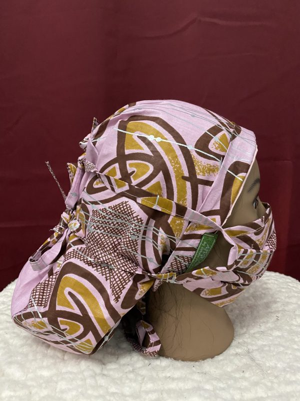 pink satin lined scrub cap with matching mask
