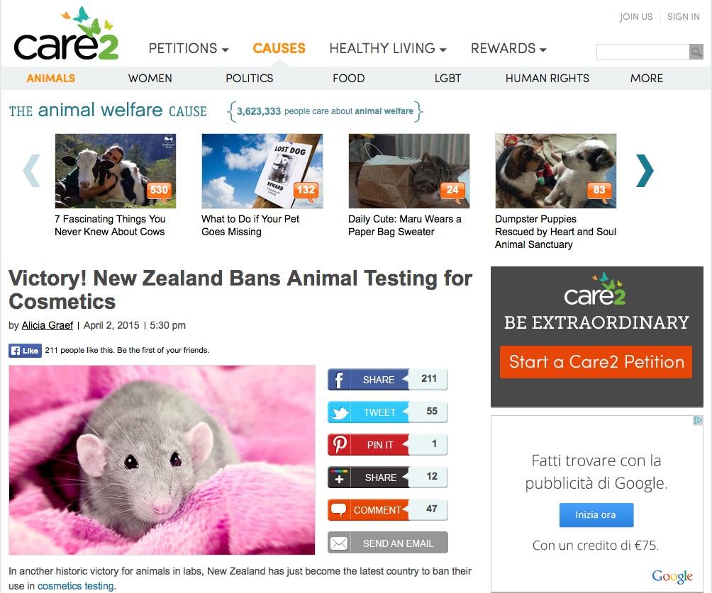 Bye bye test sugli animali!