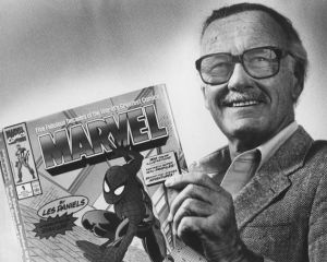 "UNKNOWN LOCATION, DC - FEBRUARY 17: Marvel Comics Publisher, Stan Lee, poses with a book of ""Spider Man"" comics which he created along with comics on the ""Hulk"" and others. Photo from Washington Post Archive scanned on 2/17/2009. (Photo by Gerald Martineau/The Washington Post via Getty Images)"