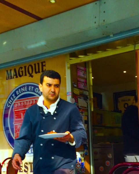 Photo of a waiter at Tunisian Jewish restaurant, René et Gabin, in Belleville