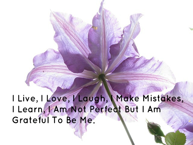 I Live, I Love, I Laugh, I Make Mistakes, I Learn, I Am Not Perfect But I Am Grateful To Be Me.