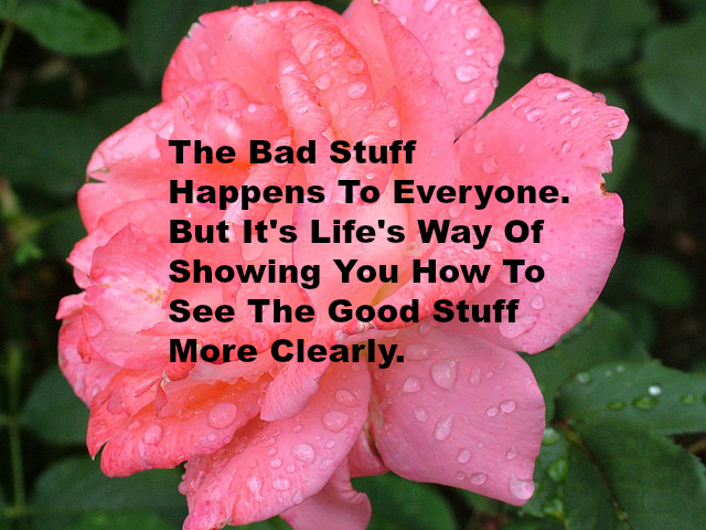 The Bad Stuff Happens To Everyone. But It's Life's Way Of Showing You How To See The Good Stuff More Clearly.