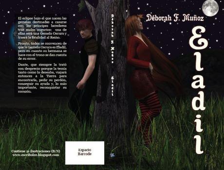 Cubierta completa de la novela corta ilustrada Eladil blanco y negro, de la escritora Déborah F. Muñoz