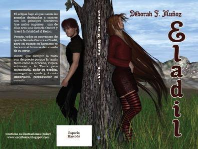 Cubierta completa de la novela corta ilustrada Eladil color, de la escritora Déborah F. Muñoz